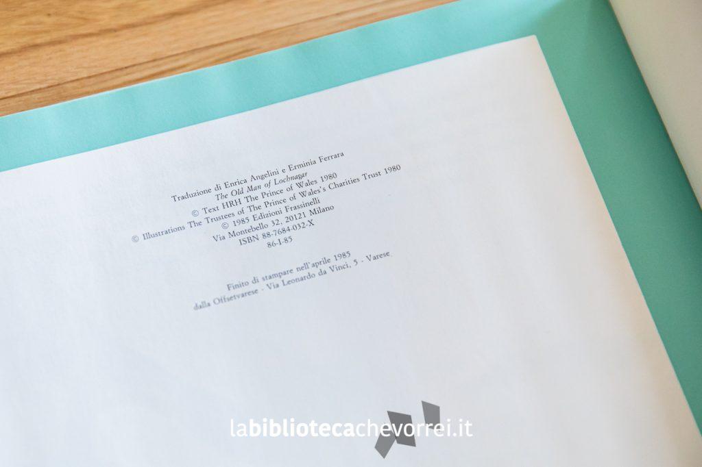 """Pagine con i crediti del libro """"Il vecchio del lago"""" scritto dal Principe Carlo d'Inghilterra."""