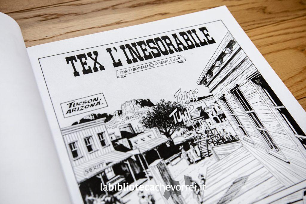 """Prima pagina del fumetto """"Tex l'inesorabile"""". Testi di Boselli, disegni di Villa."""