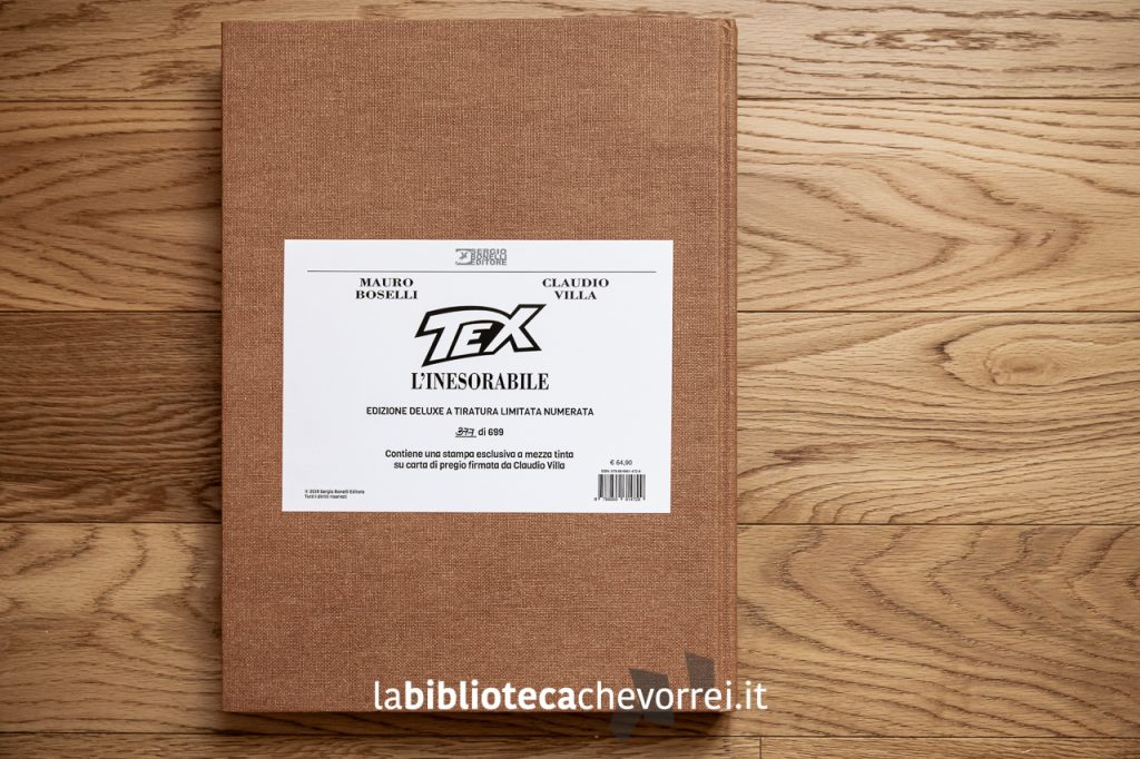 """Certificazione presente nel volume che indica il numero della copia dell'edizione deluxe a tiratura limitata e numerata di """"Tex l'inesorabile""""."""
