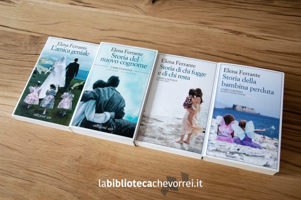 """La tetralogia in prima edizione de """"L'amica geniale"""" di Elena Ferrante. Edizioni e/o."""