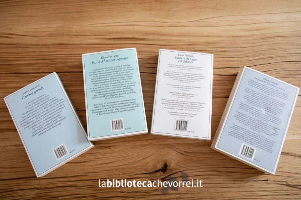 """I retro dei libri della tetralogia in prima edizione de """"L'amica geniale"""" di Elena Ferrante. Edizioni e/o."""