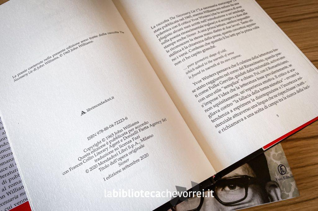 Colophon della nuova edizione italiana di Stoner di John Williams, Mondadori, 2020.
