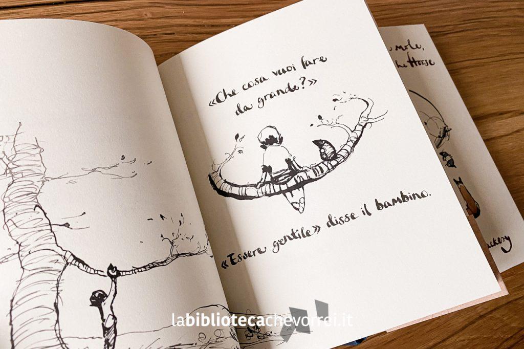 """Pagine interne dell'edizione italiana del libro di Charlie Mackesy """"Il bambino, la talpa, la volpe e il cavallo"""". Salani 2020."""