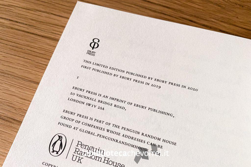 """Pagina dei crediti della nuova edizione inglese """"Limited edition"""" del libro di Charlie Mackesy """"The boy, the mole, the fox and the horse"""", Ebury Press 2020."""