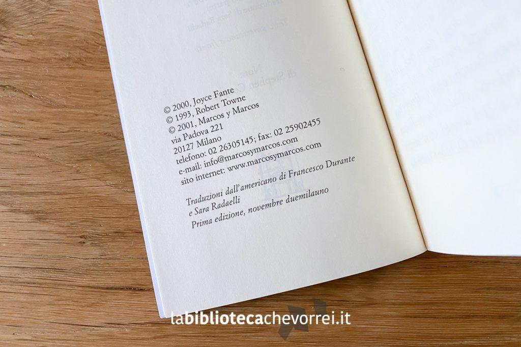 Dati di stampa del volume. La prima (e unica) edizione italiana è di novembre 2001.