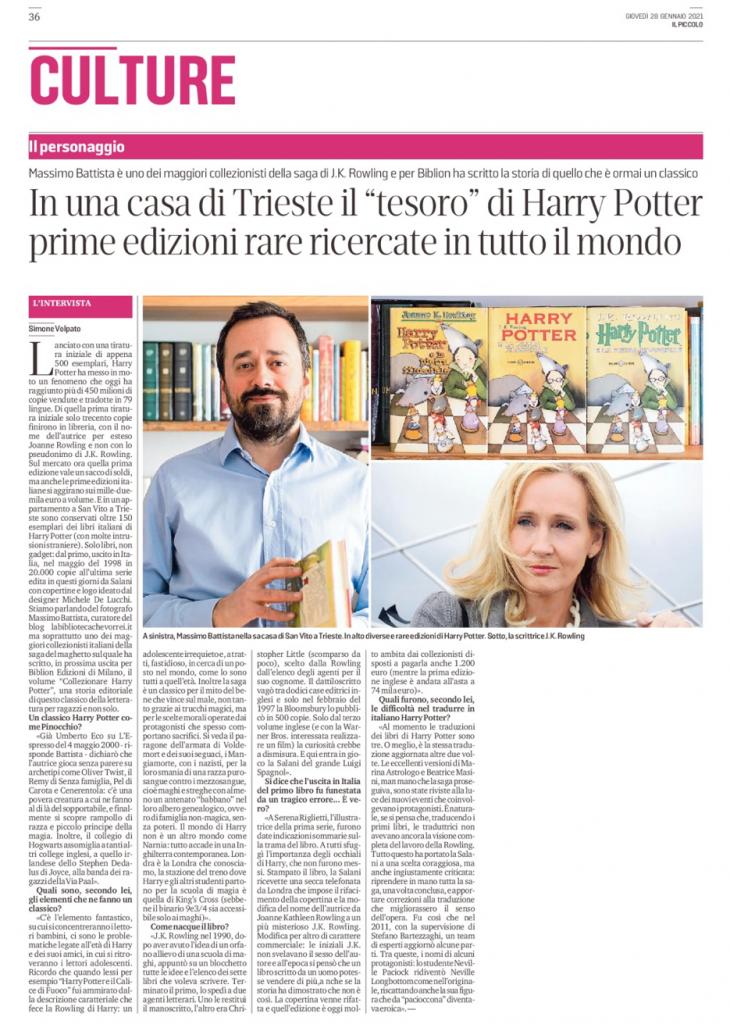 """Articolo tratto da """"Il Piccolo"""" (Gruppo La Repubblica) del 28 gennaio 2021."""