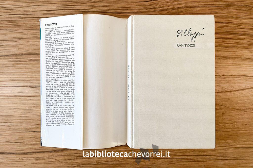 Copertina del libro, la firma di Villaggio è prestampato.