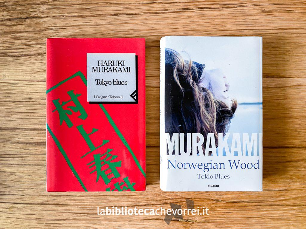 """Edizioni a confronto: a sinistra la prima edizione di """"Norwegian Wood"""" uscita in Italia e a destra l'edizione speciale per Librerie Feltrinelli del 2014."""