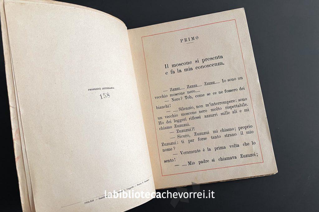 Prima pagina interna del volume L'amico di Topolino di Consuelo, 1934, Cappelli.