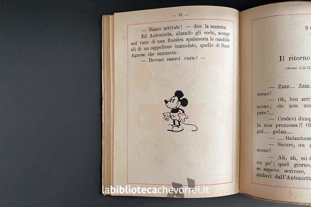 Una delle immagini di Micky Mouse (Topolino) presenti alla fine dei capitoli di questo volume apocrifo. L'amico di Topolino di Consuelo, 1934 Cappelli.