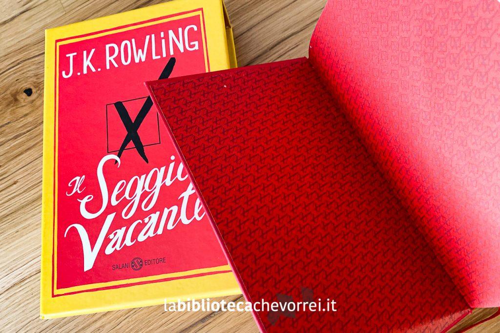 """Risguardo dell'edizione speciale e numerata de """"Il Seggio Vacante"""" di J.K. Rowling. Salani, 2012."""
