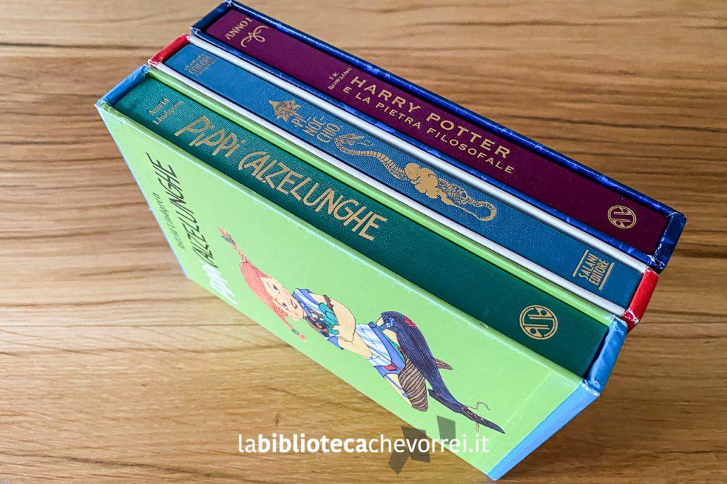 I tre volumi, stampati dalla Salani Editore, per festeggiare i 140 anni della casa editrice: Pinocchio, Harry Potter e Pippi Calzelunghe.