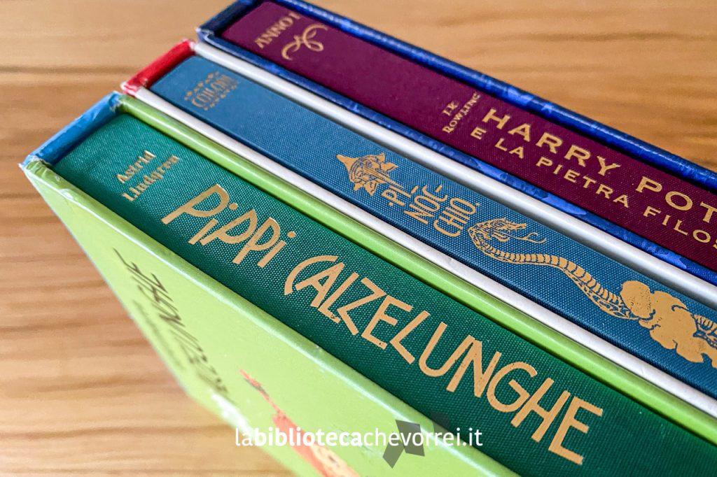 I dorsi in tela, nei loro cofanetti di cartone dei tre volumi, dei tre volumi stampati dalla Salani Editore, per festeggiare i 140 anni della casa editrice: Pinocchio, Harry Potter e Pippi Calzelunghe.