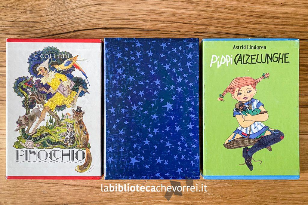 I tre cofanetti realizzati dalla Salani per festeggiare i 140 anni della casa editrice: Pinocchio, Harry Potter e Pippi Calzelunghe.