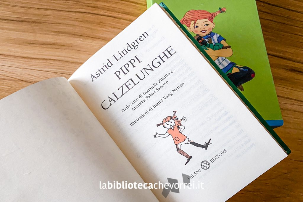 Frontespizio del libro Pippi Calzelunghe di Astrid Lindgren pubblicato da Salani nel 2003 in edizione limitata e numerata.