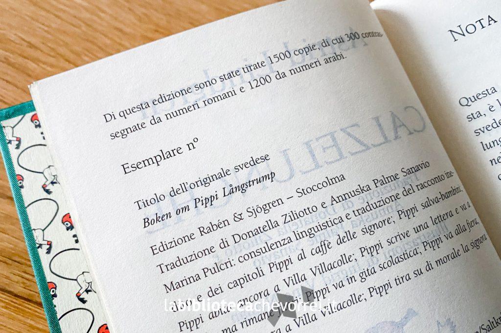 Informazioni sull'esemplare numerato del libro Pippi Calzelunghe di Astrid Lindgren pubblicato da Salani nel 2003 in edizione limitata e numerata. (Il numero dell'esemplare è stato rimosso tramite fotoritocco).