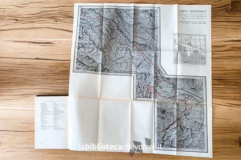 """Mappa della spedizione presente alla fine del volume """"Santi e briganti nel Tibet ignoto"""", 1936."""
