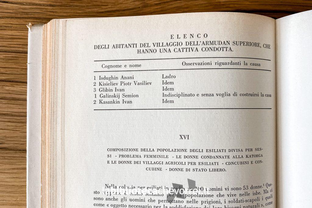 Pagine interne del volume Siberia di A. Cechov dove sono presenti anche tabelle relative ai prigionieri dell'Isola di Sachalin.