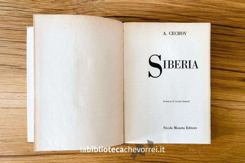 Frontespizio del volume Siberia di A. Cechov, Edizione Moneta Editore, 1960.