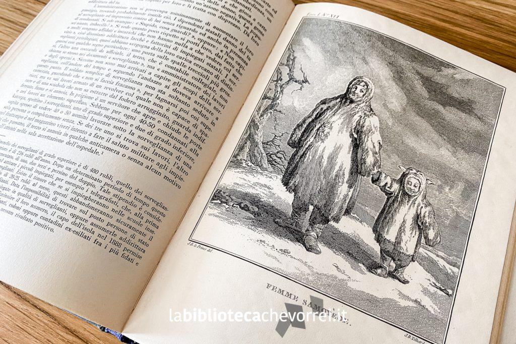 Pagine interne con inserti di illustrazioni del volume Siberia di A. Cechov.