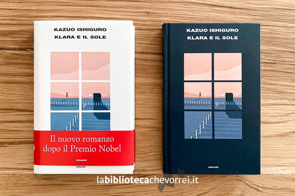 """A sinistra l'edizione in commercio, a destra - una delle 1.000 copie di """"Klara e il sole"""" di Ishiguro con la copertina nera fuori commercio."""