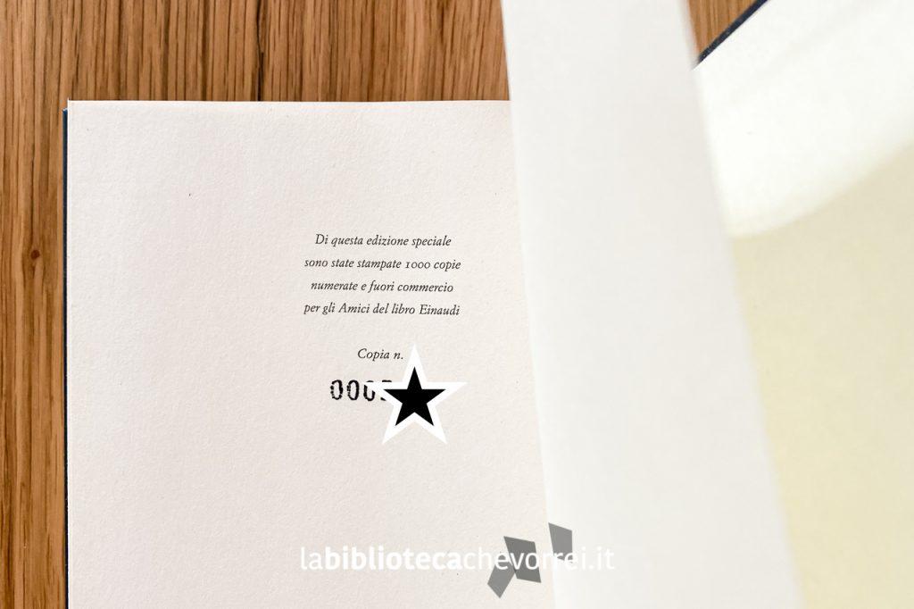 """Dettaglio con il numero della copie stampate di questa edizione fuori commercio de """"Klara e il sole"""" di Kazuo Ishiguro."""