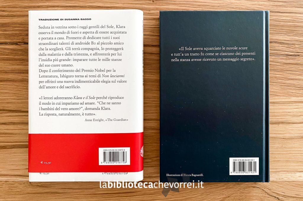"""Retro delle due edizioni di """"Klara e il sole"""". A sinistra l'edizione in commercio, a destra -l'edizione distribuita solo ad alcuni librai."""