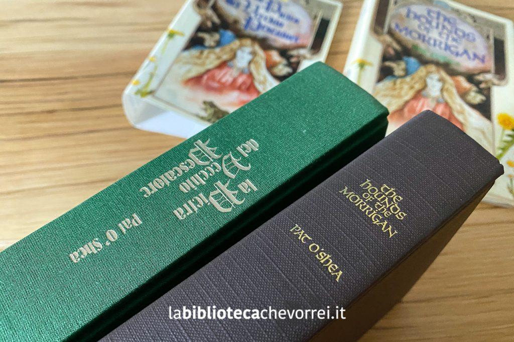 Il dorso della prima edizione italiana (in verde) a confronto con il dorso inglese (in marrone).